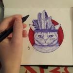 Серия работ «Котики». Шариковая ручка. Агата Соломатова.